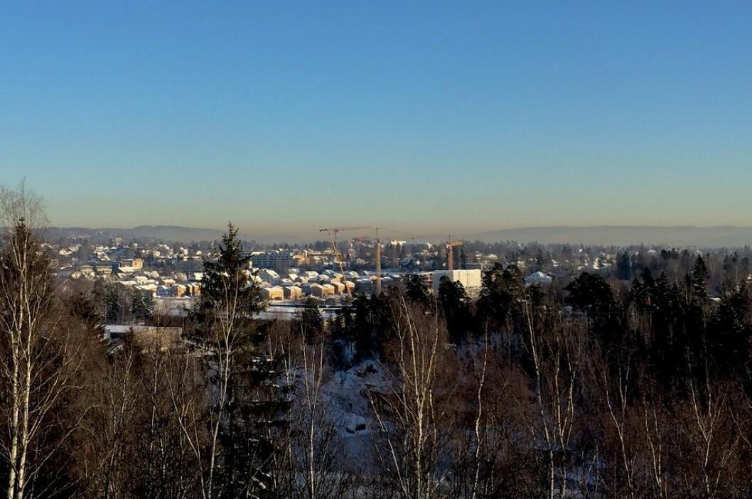 Luftforuresning over Oslo i januar 2015. (Foto: Karine H. Henriksen)