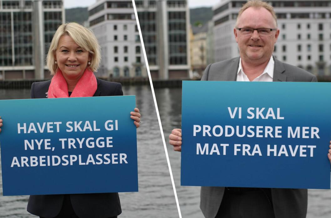 Næringsminister Monica Mæland og fiskeriminister Per Sandberg.