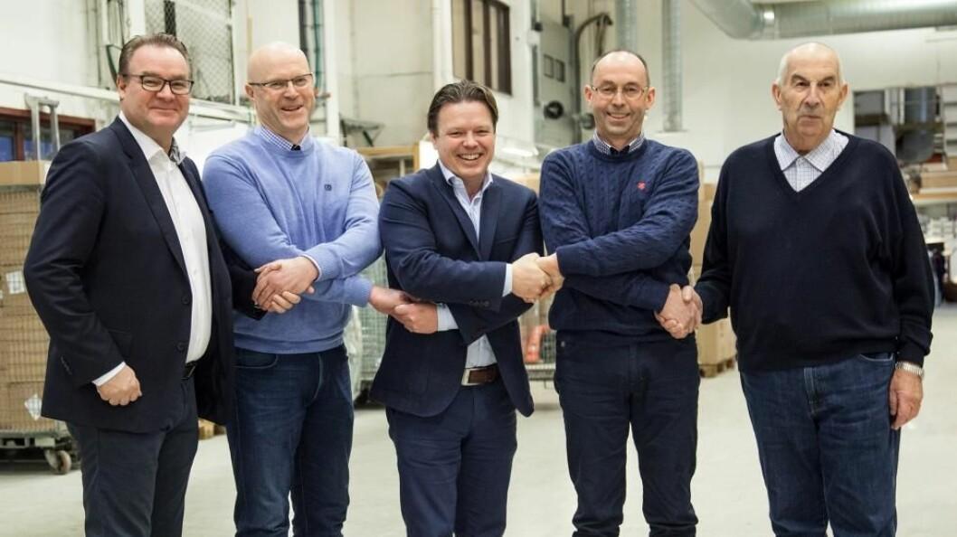 (F. v.) Mikael Falk, Kjell Arne Bekken, Lars Erik Finne, Torbjørn Bekken og Jon Erling Bekken. (Foto: Ahlsell)