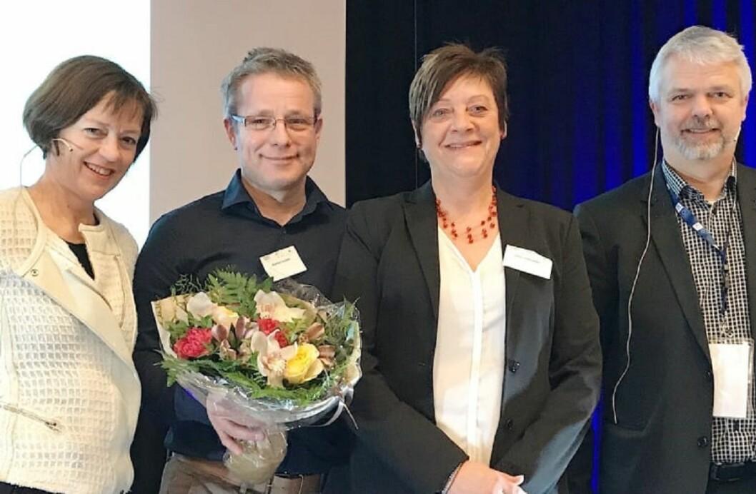 Fra venstre: Grete Ingeborg Nykkelmo, Morten Vedahl, Ellen Solbrække og Erling Barlindhaug. Foto: Ungt Entreprenørskap Norge.