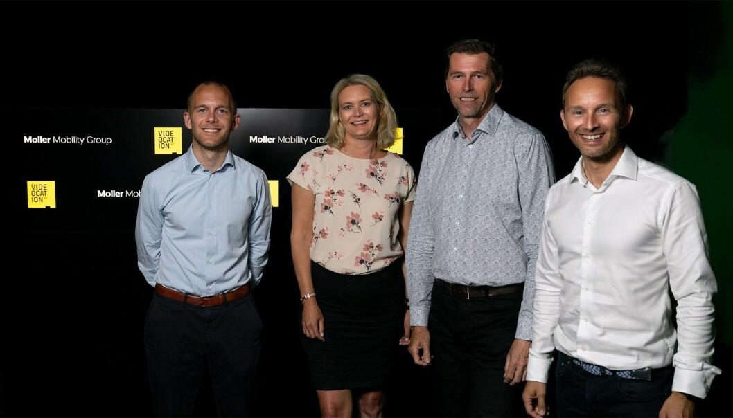 F.v. Preben Naustdal Giving, Opplæring i Møller, Nina Moi Edvardsen, HR-direktør i Møller, Terje Seljeseth og Marius Olsen, Videocation.
