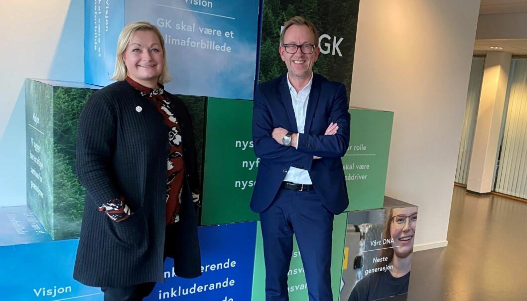 Heidrun R. Marstein og konsernsjef Kim Robert Lisø i GK Gruppen.