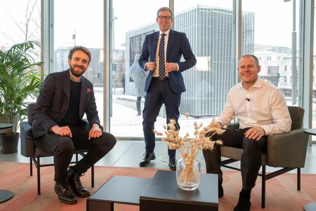 Vestre og BioMarine er to norske bedrifter som har opplevd høy vekst. Begge har mottatt eksportråd fra Innovasjon Norge. Fra venstre: Jan Christian Vestre (Vestre), Håkon Haugli (Innovasjon Norge) og Matts Johansen (BioMarine).