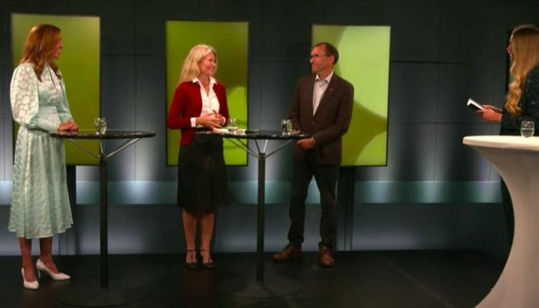 F.v. Thina Saltvedt (Nordea), Siri Kalvig (Nysnø), Espen Barth Eide (AP) og programleder Ida Pernille Hartlebrekke (Møller Mobility Group).